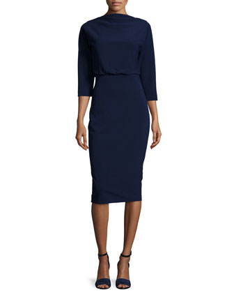 3/4-Sleeve Blouson-Top Day Dress