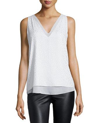 Harper Metallic Dot-Print Top, White
