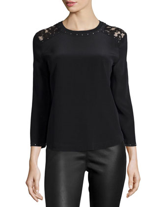 Artie Lace & Stud Trim Sweater, Black