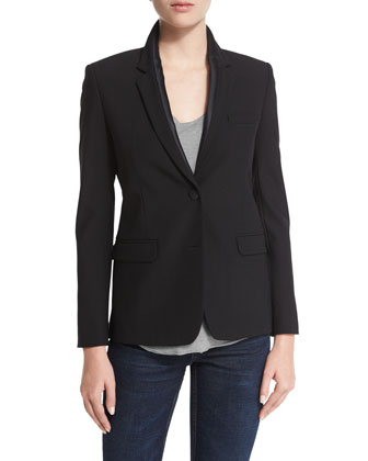 Satin Lapel Blazer Jacket, Black