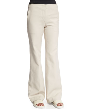 Raw Seam Flare-Leg Pants, Oyster