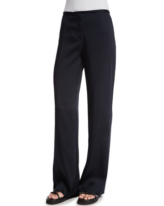 Woven Wide-Leg Pants, Black