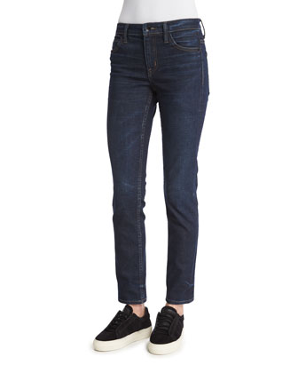 Skinny Denim Ankle Jeans, Dark Blue