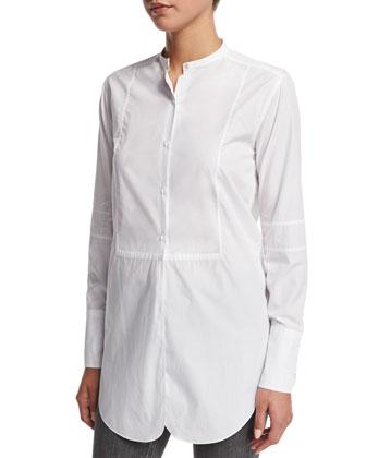 Poplin Tuxedo Tunic Shirt, White
