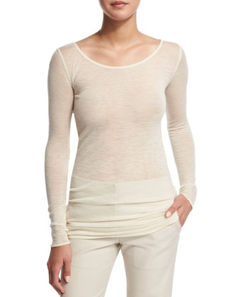 Sheer Long-Sleeve Crewneck Top, Creme