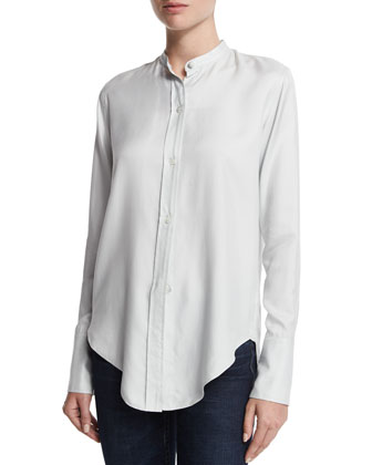 Silk Long-Sleeve Tuxedo Shirt, Fog