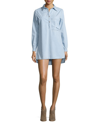 Milo Long-Sleeve Shirtdress, Riverside