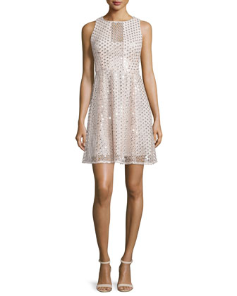 Sleeveless Embellished Party Dress, Ivory