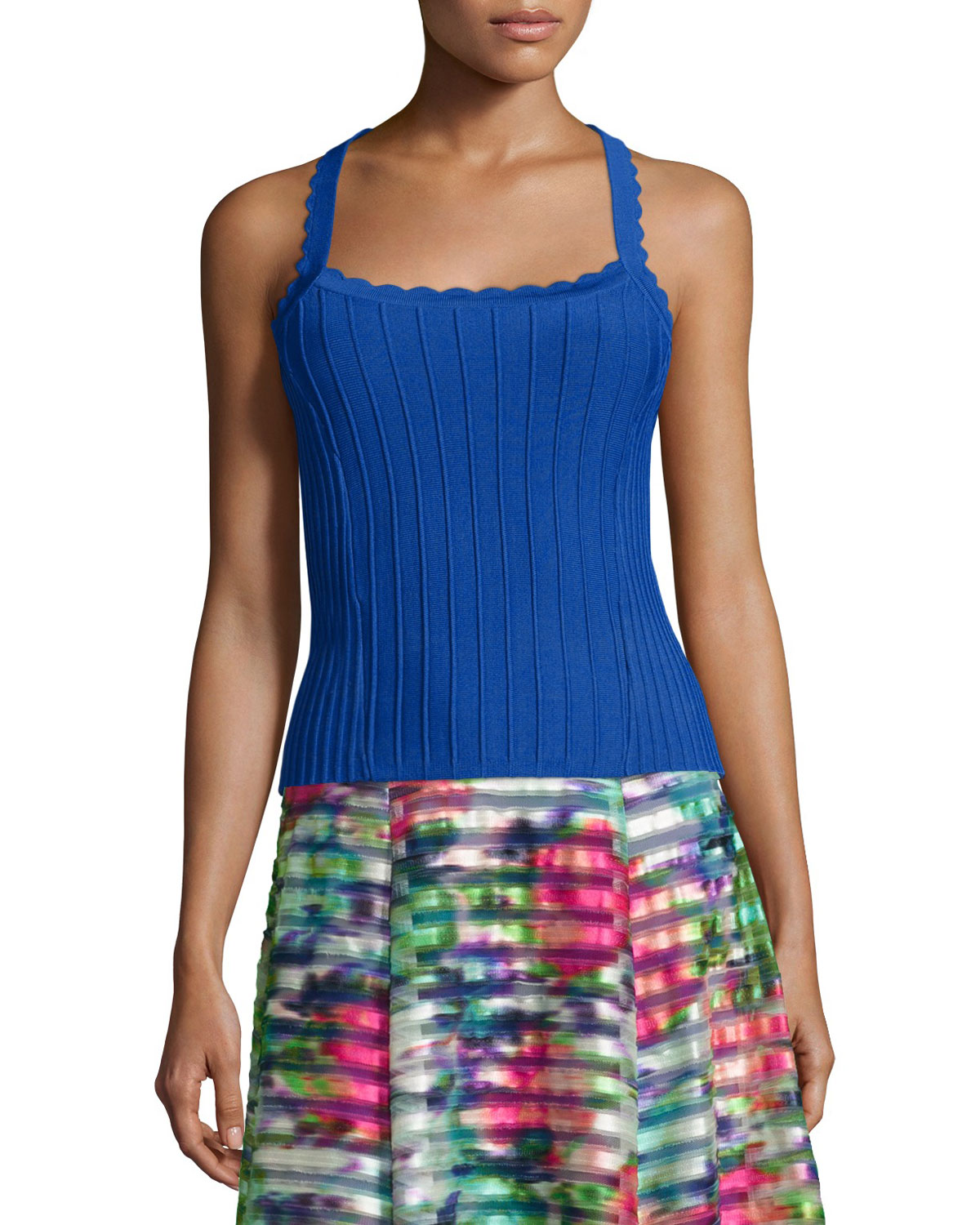 Sleeveless Ribbed Top with Scalloped Straps, Size: LARGE, Blue - Nanette Lepore