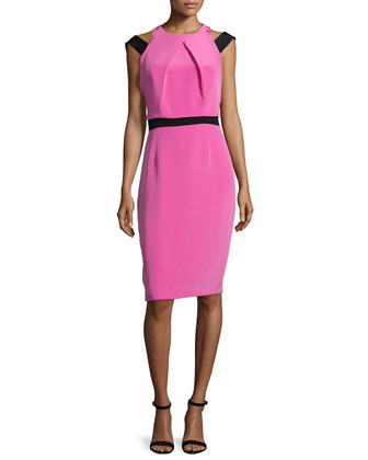 Sleeveless Pleated-Front Dress, Pink