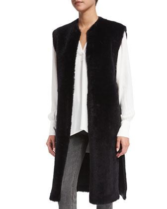 Long Shearling Fur Vest, Navy