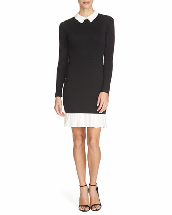 Long-Sleeve Collared Sweater Dress