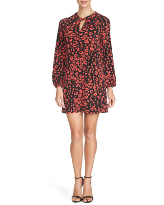 Animal-Print Twisted-Neck Shift Dress