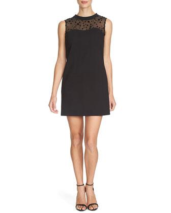 Sleeveless Shift Dress with Velvet-Dot Yoke