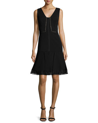 Lace-Inset Flounce-Hem Dress, Noir