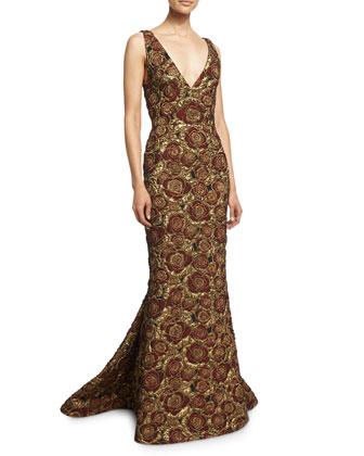 Marlee Sleeveless Floral Mermaid Gown