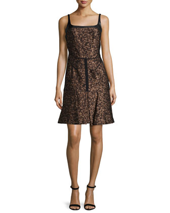 Sleeveless Fit-&-Flare Combo Dress, Bronze Multi