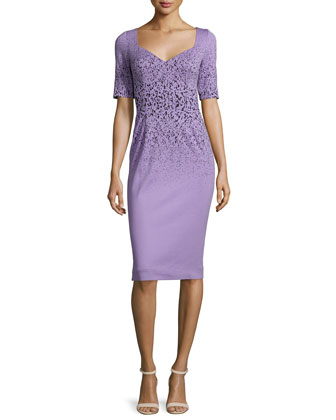 Half-Sleeve Sheath Dress, Lilac
