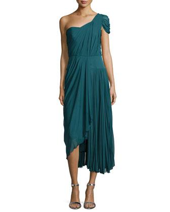 One-Shoulder Asymmetric Pleated Dress, Empress Green