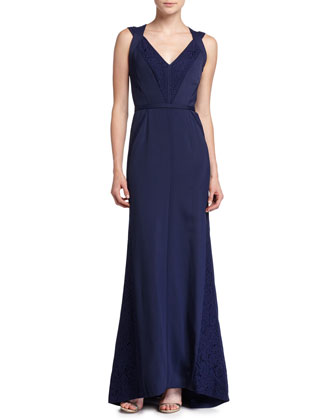 Sleeveless Lace-Inset Gown, Marine