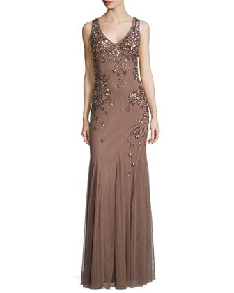 Sleeveless Beaded Godet Gown
