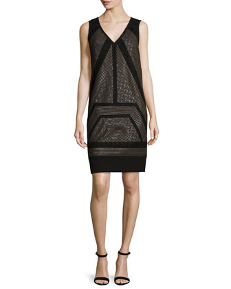 Sleeveless Lace-Inset Shift Dress, Midnight Forest
