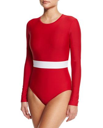 UPF 50 Long-Sleeve Waist-Stripe One-Piece Swimsuit