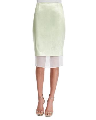 Mid-Rise Pencil Skirt W/Organza Hem, Mint