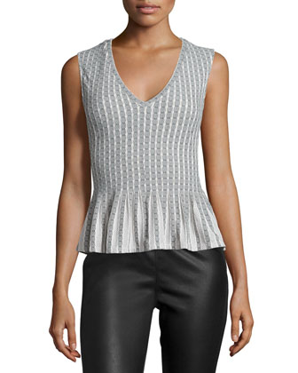 Haily Sleeveless Pleated-Peplum Top, Black/Ivory