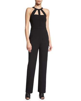 Marlin Straight-Leg Jumpsuit W/Cutouts, Black