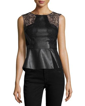 Laine Faux-Leather Peplum Top, Black