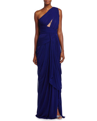 One-Shoulder Gathered Gown, Imperial Blue