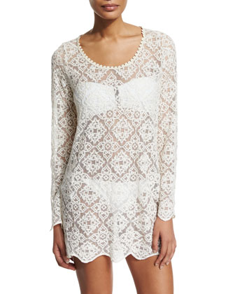 Stella Embroidered-Lace Sheer Tunic