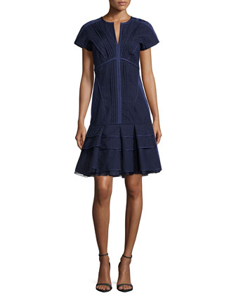 Cap-Sleeve Seamed Fit-and-Flare Dress, Marine