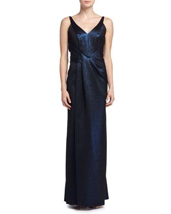 Sleeveless Metallic Gown, Ciel Gele (Dark BLue)