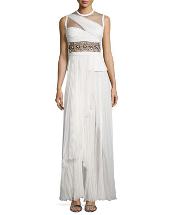 Sleeveless Embellished-Waist Gown, Ivory/Noir