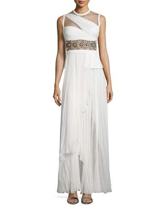 Sleeveless Embellished-Waist Gown, Ivory/Noir
