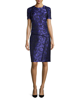 Short-Sleeve Floral-Print Sheath Dress, Imperial Blue