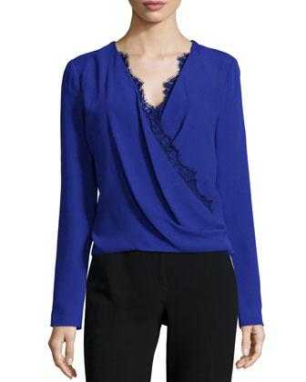 Long-Sleeve Lace-Trim Blouse, Imperial Blue
