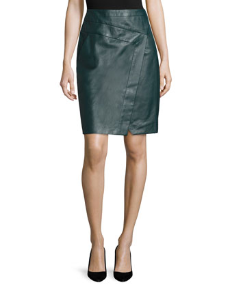 Faux-Wrap Leather Pencil Skirt, Midnight Forest
