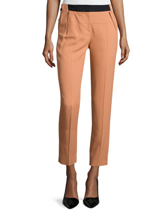 Slim-Leg Cropped Pants, Coral