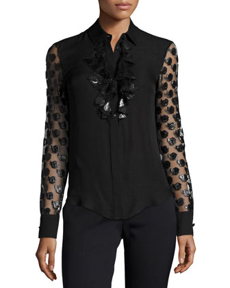 Floral-Embellished Button-Front Blouse, Black