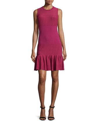 Sleeveless Flounce-Hem Dress, Wine