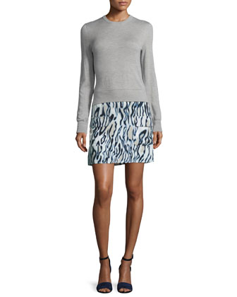 Shirley Printed-Skirt Dress, Light Heather