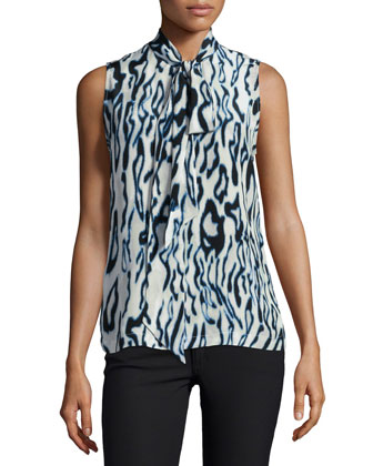 Poppy Sleeveless Tie-Neck Blouse, Marshmallow Multi