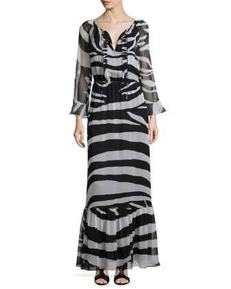 Long-Sleeve Zebra-Print Maxi Dress, Black/White
