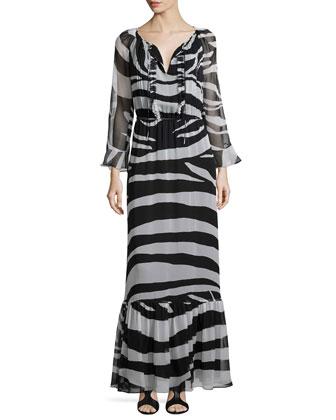 Long-Sleeve Zebra-Print Maxi Dress, Black/White