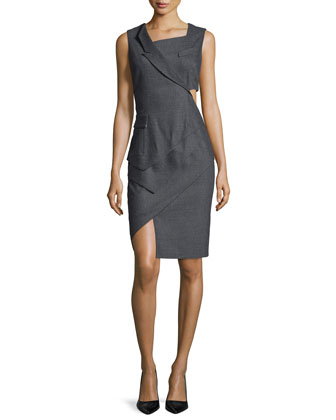 Sleeveless Asymmetric Tuxedo Dress, Heather Gray