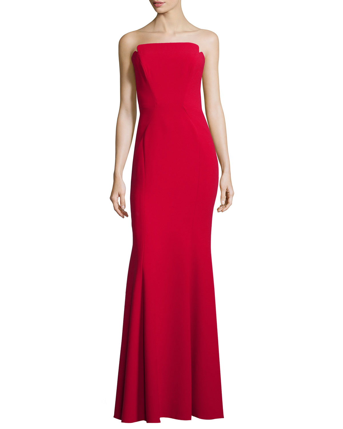Strapless Gown with Godets, Size: 8, Red - Jill Jill Stuart