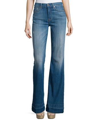 Ginger Flare-Leg Released-Hem Jeans, Bright Light